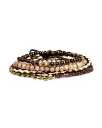 River Island - Brown Ecru Beaded Bracelets Pack - Lyst