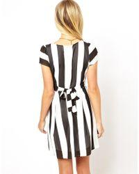 Wal-G - White Stripe Skater Dress - Lyst