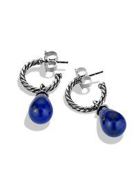 David Yurman - Blue Cable Classic Bead & Hoop Earrings - Lyst