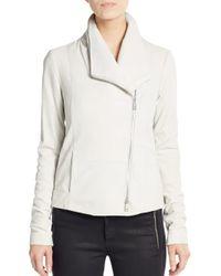 VINCE | White Leather Scuba Jacket | Lyst