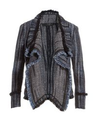 Donna Karan | Cotton-linen Draped Blazer - Blue | Lyst