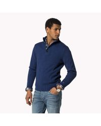 Tommy Hilfiger | Blue Wool Cotton Blend Mock Neck Sweater for Men | Lyst