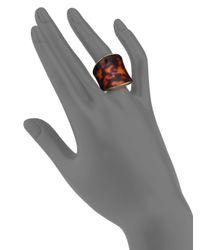 Michael Kors - Metallic Tortoise-Print Shield Ring - Lyst