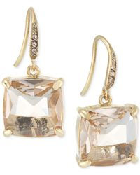 Carolee - Metallic Gold-Tone Cushion-Cut Stone Drop Earrings - Lyst