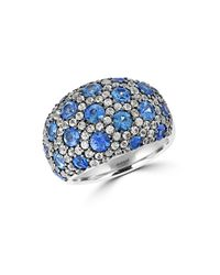 Effy | Blue Sapphire, White Sapphire And Sterling Silver Ring | Lyst
