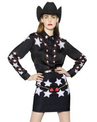 Maria Escoté - Black Cowgirl Printed Techno Satin Shirt - Lyst