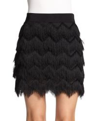 MILLY - Black Feather and Silk Organza Mini Skirt - Lyst