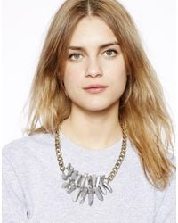 Pull&Bear - Metallic Pull Bear Stone Necklace - Lyst