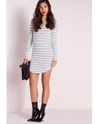 Missguided - Black Curve Hem Lace Up Front Bodycon Dress White Stripe - Lyst
