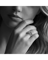 David Yurman - Metallic Double X Crossover Ring With Diamonds - Lyst