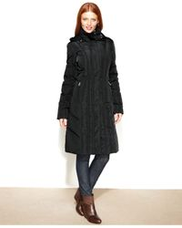 Calvin Klein | Black Hooded Long Quilted Down Puffer Coat | Lyst