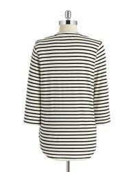 Calvin Klein | Black Striped Roll Tab Top | Lyst