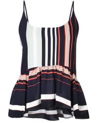 Rebecca Minkoff - Multicolor Pleated Hem Striped Blouse - Lyst