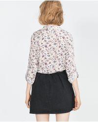 Zara | Gray Floral Print Blouse | Lyst