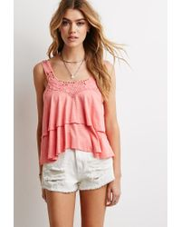 Forever 21 | Pink Crochet-trimmed Tiered Top | Lyst