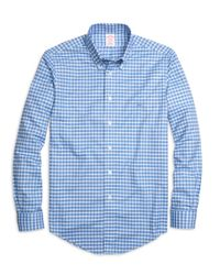 Brooks Brothers | Blue Non-iron Regent Fit Slub Check Sport Shirt for Men | Lyst