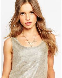 ASOS - Metallic Laser Cut Fan Necklace - Lyst