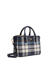 Tory Burch | Blue Robinson Woven Plaid Small Multi Tote | Lyst