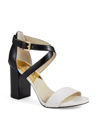 MICHAEL Michael Kors | Black Nadja Cross Strap Sandals | Lyst