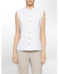 Calvin Klein | White Label Mandarin Collar Button Front Cap Sleeve Top | Lyst