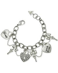 Guess | Metallic Silver-tone Linked Crystal Charm Gifting Bracelet | Lyst