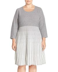 Calvin Klein | Gray Scoop Neck Fit & Flare Sweater Dress | Lyst