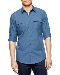 Calvin Klein | Blue Grid Slub Roll-Sleeve Sportshirt for Men | Lyst