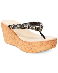Callisto | Black Risky Jewel Platform Wedge Thong Sandals | Lyst