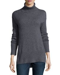 Neiman Marcus - Gray Cashmere Turtleneck With Side Slits - Lyst