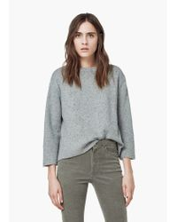 Mango - Gray Flecked Sweater - Lyst