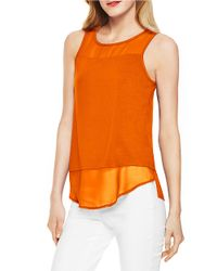 Vince Camuto | Orange Chiffon Panel Tank | Lyst