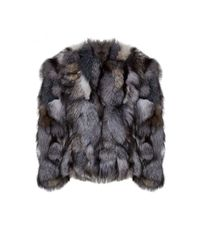 Alice + Olivia - Gray Cayle Cropped Fox Fur Jacket - Lyst