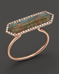 Meira T | Pink 14K Rose Gold Labradorite Ring With Diamonds | Lyst