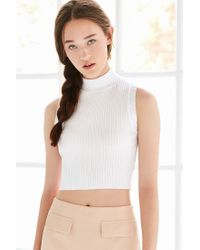 Silence + Noise - White Ribbed Mock-neck Tank Top - Lyst