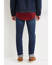 Forever 21 - Blue Slim Fit Distressed Jeans You've Been Added To The Waitlist for Men - Lyst