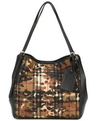 aaa25d7a7aca Lyst - Burberry Small Horseferry Check  canter  Tote in Black