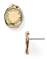 Marc By Marc Jacobs | Metallic Stamped Stud Earrings | Lyst