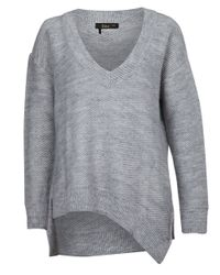 Dex | Gray Asymmetrical V-neck Sweater | Lyst