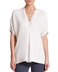 Vince - White Draped Crepe Top - Lyst