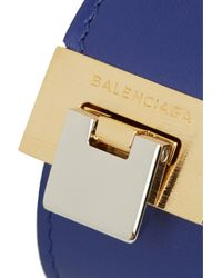 Balenciaga - Blue E Dix Eather God-tone Braceet - Lyst