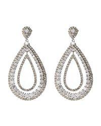Nadri - White Double Open Teardrop Earrings - Lyst