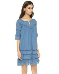 Love Sam - Blue Eyelet Cotton Voile Dress - Lyst