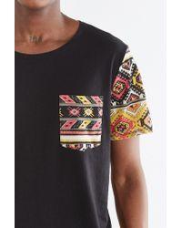 BDG - Black Pattern Blocked Standard-fit Wide Neck Pocket Tee for Men - Lyst