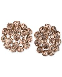 Anne Klein - Pink Rose Gold-tone Brown Crystal Cluster Clip-on Earrings - Lyst