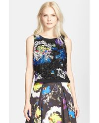 MILLY | Multicolor 'Midnight Floral' Embellished Top | Lyst