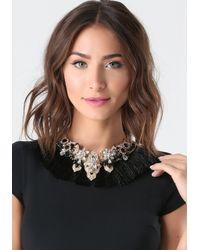 Bebe | Black Tassel Fringe Necklace | Lyst