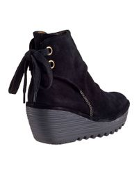 Fly London | Yama Wedge Boot Black Suede | Lyst