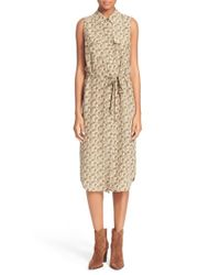 Equipment Green Tegan Floral-Print Silk Dress