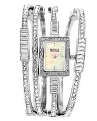 Badgley Mischka | Metallic Silver Crystal Multi Bangle Watch Set | Lyst