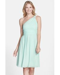 Donna Morgan | Blue Rhea One-Shoulder Chiffon Dress | Lyst